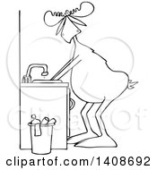 Clipart Of A Cartoon Black And White Lineart Moose Washing His Hands Royalty Free Vector Illustration