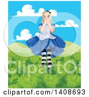 Clipart Of A Worried Giant Alice In Wonderland Towering Over Tree Tops Royalty Free Vector Illustration by Pushkin