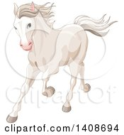 Clipart Of A Beautiful White Horse Running Royalty Free Vector Illustration