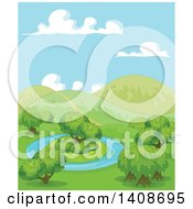 Clipart Of A Beautiful Spring Landscape Of A Pond With An Island And Hills Royalty Free Vector Illustration