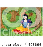 Princess Snow White Sitting On The Ground In A Forest