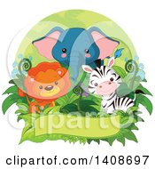 Poster, Art Print Of Cute Baby Lion Zebra And Elephant With Foliage Over A Banner Inside An Oval