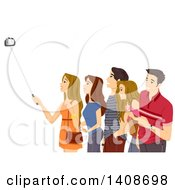 Clipart Of A Group Of Teenagers Posing For A Selfie Royalty Free Vector Illustration