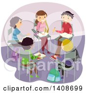Clipart Of A Group Of Teenagers Studying In A Circle Royalty Free Vector Illustration