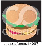 Tasty Double Cheeseburger Food Clipart Illustration