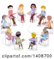Clipart Of A Group Of Teenagers Having An Open Forum Royalty Free Vector Illustration