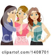 Clipart Of A Group Of Teen Girls Gossiping Royalty Free Vector Illustration by BNP Design Studio