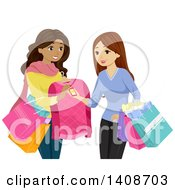 Clipart Of Teen Girls Shopping Together Looking A Price Tags Royalty Free Vector Illustration by BNP Design Studio