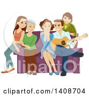 Clipart Of A Man Singing To His Wife Around The Family Royalty Free Vector Illustration