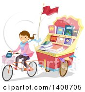 Clipart Of A Caucasian Teenage Girl Pulling A Book Cart Behind Her Bicycle Royalty Free Vector Illustration