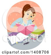 Clipart Of A Tired Brunette Caucasian Girl Studying Royalty Free Vector Illustration