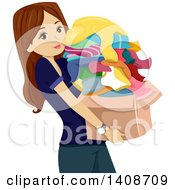 Clipart Of A Brunette Caucasian Teen Girl Carrying A Box Of Donation Clothes Royalty Free Vector Illustration