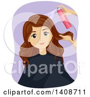 Clipart Of A Caucasian Teen Girl Getting Her Hair Styled Royalty Free Vector Illustration by BNP Design Studio