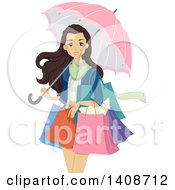 Clipart Of A Caucasian Teen Girl Shopping And Carrying An Umbrella Royalty Free Vector Illustration by BNP Design Studio