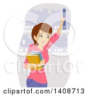 Clipart Of A Sweaty Caucasian Teen Girl In A Library Royalty Free Vector Illustration