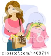 Clipart Of A Kleptomaniac Caucasian Teen Girl Stealing Clothes Royalty Free Vector Illustration