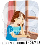 Clipart Of A Sad Caucasian Teen Girl Staring Out A Window Royalty Free Vector Illustration by BNP Design Studio