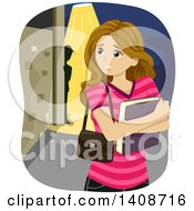 Clipart Of A Worried Caucasian Teen Girl Realizing Shes Being Stalked Royalty Free Vector Illustration
