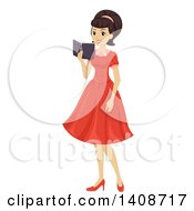 Clipart Of A Caucasian Teen Girl In A Retro 50s Dress Royalty Free Vector Illustration