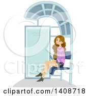Clipart Of A Caucasian Teen Girl Waiting At A Bus Stop Royalty Free Vector Illustration