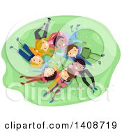 Clipart Of A Group Of Teenagers Laing In A Circle On Grass Royalty Free Vector Illustration by BNP Design Studio