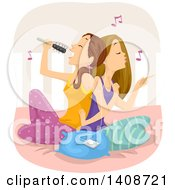 Clipart Of Caucasian Teen Girls Sitting On A Bed Singing And Listening To Music Royalty Free Vector Illustration
