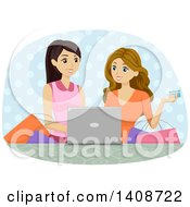 Clipart Of Caucasian Teen Girls Online Shopping Royalty Free Vector Illustration