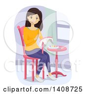 Clipart Of A Brunette Caucasian Teen Girl Embroidering Royalty Free Vector Illustration