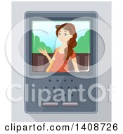Clipart Of A Brunette Caucasian Teen Girl On An Intercom Screen Royalty Free Vector Illustration by BNP Design Studio