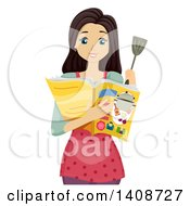 Clipart Of A Teen Brunette Caucasian Girl Reading A Recipe In A Magazine Royalty Free Vector Illustration