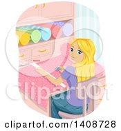 Clipart Of A Teen Blond Caucasian Girl Cutting Fabric Royalty Free Vector Illustration