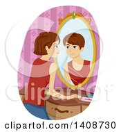 Clipart Of A Caucasian Transgendered Girl Seeing A Boy Reflecting In Her Mirror Royalty Free Vector Illustration