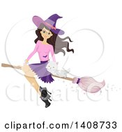 Clipart Of A Caucasian Teenage Witch Girl Flying With A Cat On A Broomstick Royalty Free Vector Illustration