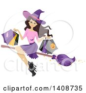 Clipart Of A Caucasian Teenage Witch Girl Flying With Halloween Bags On A Broomstick Royalty Free Vector Illustration