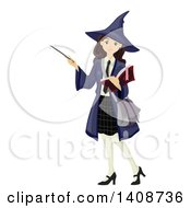 Clipart Of A Caucasian Teenage Girl Student In A Witch Costume Royalty Free Vector Illustration