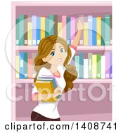 Clipart Of A Caucasian Teen Girl Picking Books In A Library Royalty Free Vector Illustration