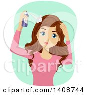 Clipart Of A Caucasian Teen Girl Using Dry Shampoo Royalty Free Vector Illustration by BNP Design Studio