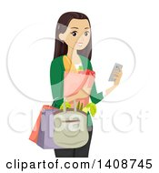 Clipart Of A Caucasian Teen Girl Grocery Shopping And Usiner Her Cell Phone Royalty Free Vector Illustration