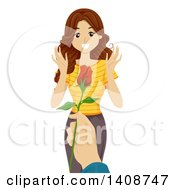 Clipart Of A Caucasian Teen Girl Receiving A Valentine Rose Royalty Free Vector Illustration by BNP Design Studio