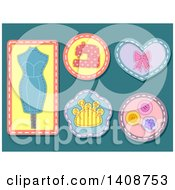Clipart Of Sewn Styled Patches Or Badges On Teal Royalty Free Vector Illustration
