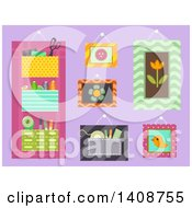 Clipart Of Sewing Organizers On Purple Royalty Free Vector Illustration