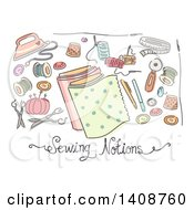 Clipart Of Sketched Sewing Notions Royalty Free Vector Illustration