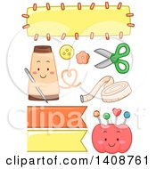 Clipart Of Cute Cartoon Sewing Design Elements Royalty Free Vector Illustration