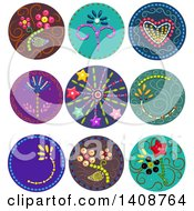 Clipart Of Patterned Beaded Buttons Royalty Free Vector Illustration
