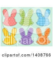 Patterned Rabbit Head Patches On Green