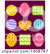 Clipart Of Patterned Shape Patches On Dark Purple Royalty Free Vector Illustration