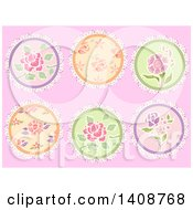 Clipart Of Shabby Chick Floral Frilly Patches On Pink Royalty Free Vector Illustration