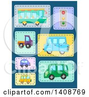 Clipart Of Transportation Patches On Blue Royalty Free Vector Illustration