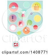 Clipart Of A Sewing Machine And Cloud Of Icons Royalty Free Vector Illustration