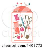 Clipart Of A Stencil Styled Sewing Kit Royalty Free Vector Illustration